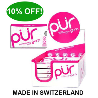 PUR Chewing Gum Pomegranate Mint 9pce blister x12